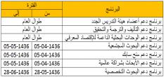 جدولة برامج الدعم الخاصة بالعمادة